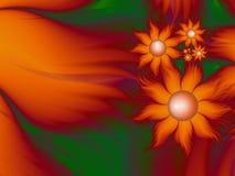 Imagem do Fractal com flores Para seu texto Cor verde e alaranjada Fotos de Stock