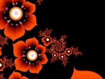 Imagem do Fractal com flores Para seu texto Cor vermelha e preta Fotografia de Stock