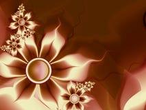 Imagem do Fractal com flores Para seu texto Ouro e cor marrom Imagem de Stock Royalty Free