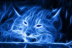Imagem do Fractal de um lince selvagem do sono no azul ilustração stock