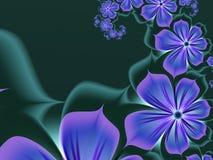 Imagem do Fractal, fundo para introduzir seu texto Flores do azul da fantasia imagens de stock royalty free