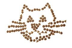 Imagem do gato feita da comida de gato imagem de stock