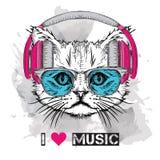 A imagem do gato nos vidros e nos fones de ouvido Ilustração do vetor Imagens de Stock