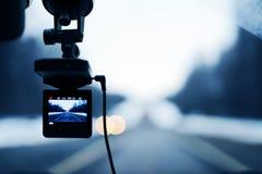 Imagem do gravador de vídeo do carro na ação Foto de Stock