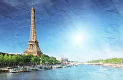 Imagem do Grunge da torre Eiffel Fotos de Stock Royalty Free