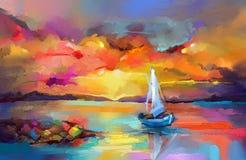 Imagem do impressionismo de pinturas do seascape com fundo da luz solar Pinturas a óleo da arte moderna com barco, vela no mar ilustração stock