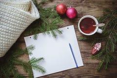 Imagem do inverno: bloco de notas com pena, copo do chá, ramos do abeto, brinquedos do Natal e lenço Foto de Stock