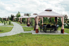 Imagem do jardim da beleza com miradouro moderno Fotos de Stock