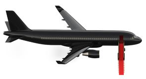 Imagem do jato privado da carta patente luxuosa preta, plano Avião com um tapete vermelho, isolado do VIP da rendição 3d no branc Fotografia de Stock