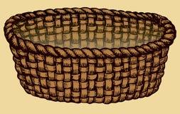 Imagem do monochrome do vetor Cesta de vime vazia ilustração royalty free