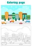 Imagem do Natal com a cidade nevado no estilo dos desenhos animados, página da coloração do xmas, jogo do papel da educação para  ilustração stock