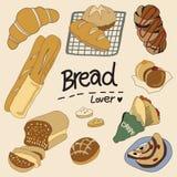 A imagem do pão e do brinde ilustração royalty free