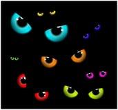 Imagem do projeto liso do fundo assustador feliz de Dia das Bruxas Vector a ilustração do cartão do convite com olhos assustadore Fotos de Stock