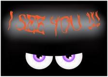 Imagem do projeto liso do fundo assustador feliz de Dia das Bruxas Vector a ilustração do cartão do convite com os olhos ensangue Imagem de Stock