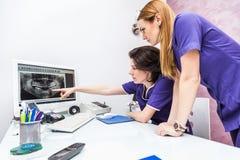 Imagem do raio X de Looking At do dentista de duas fêmeas Fotos de Stock