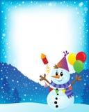 Imagem 2 do tema do boneco de neve do partido ilustração stock