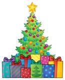Imagem 1 do tema da árvore e dos presentes de Natal Imagens de Stock