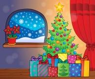 Imagem 2 do tema da árvore e dos presentes de Natal Foto de Stock