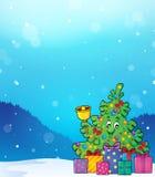 Imagem 5 do tema da árvore e dos presentes de Natal Foto de Stock Royalty Free