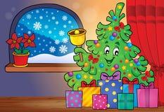 Imagem 4 do tema da árvore e dos presentes de Natal Fotos de Stock