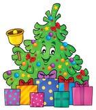 Imagem 3 do tema da árvore e dos presentes de Natal Fotos de Stock Royalty Free