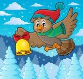 Imagem 3 do tema da coruja do Natal Fotos de Stock