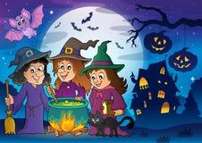 Imagem 8 do tema de três bruxas Imagem de Stock