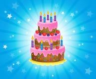 Imagem 3 do tema do bolo de aniversário Imagem de Stock