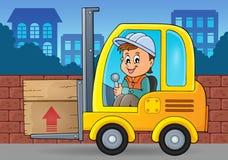 Imagem 3 do tema do caminhão de empilhadeira Fotos de Stock Royalty Free