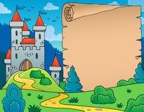 Imagem do tema do castelo e do pergaminho Imagens de Stock Royalty Free