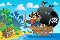 Imagem 1 do tema do navio de pirata Foto de Stock