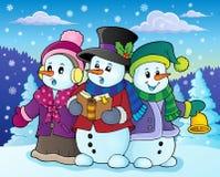 Imagem 4 do tema dos cantores da música de natal dos bonecos de neve Imagens de Stock