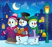 Imagem 2 do tema dos cantores da música de natal dos bonecos de neve Fotografia de Stock