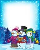 Imagem 3 do tema dos cantores da música de natal dos bonecos de neve Foto de Stock