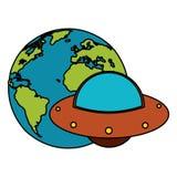 imagem do UFO do mundo da terra ilustração do vetor