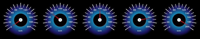 Imagem do vetor do ¼ do ¾ Ð do ¿ Ñ-Ð'Ð do ¡ Ð de Ð do velocímetro do carro com 'diferente Ñ€ do indicatorsÐµÑ da velocidade ilustração do vetor