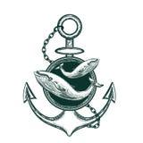 Imagem do vetor da âncora e da baleia Esbo?o da tatuagem ilustração do vetor