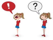 Imagem do vetor da menina dos desenhos animados com variação da exclamação e do ponto de interrogação Fotografia de Stock