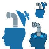 Imagem do vetor das cabeças dos homens de negócios com periscópios ilustração stock