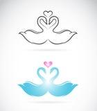 Imagem do vetor de duas cisnes loving Fotografia de Stock