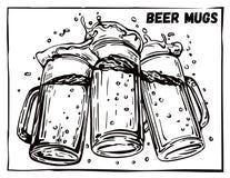 Imagem do vetor de três canecas de cerveja Fotografia de Stock Royalty Free
