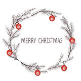 Imagem do vetor de uma grinalda do Natal, uma grinalda do abeto Inscrição do Feliz Natal no centro Modo do Natal Uso universal ilustração royalty free