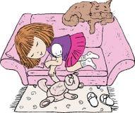 Imagem do vetor de uma menina que dorme após o jogo imagem de stock