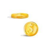 Imagem do vetor de uma moeda de ouro Cor amarela, objeto isolado Fotografia de Stock Royalty Free