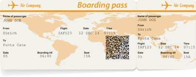 Imagem do vetor do bilhete da passagem de embarque da linha aérea Foto de Stock