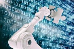 Imagem do vetor do robô que guarda o enigma 3d Imagem de Stock