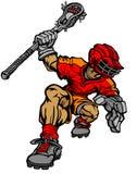 Imagem do vetor dos desenhos animados do jogador do Lacrosse Fotografia de Stock Royalty Free