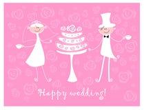 A imagem do vetor o noivo e a noiva está bebendo o chá com um bolo em um fundo cor-de-rosa das rosas Fotos de Stock
