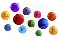 Imagem do vetor Vitaminas ajustadas Vitamina um ácido ascórbico complexo D do Retinol B C, E, K, PP Foto de Stock