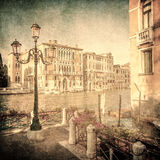 Imagem do vintage do canal grande, Veneza Fotos de Stock Royalty Free